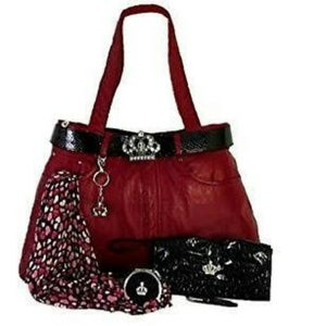 Red Leather Tote Travel Bag Set Crown Accents XXL